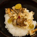 舞茸とサツマイモのかき揚げ天丼