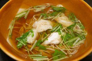 鱈(タラ)と水菜のおそば